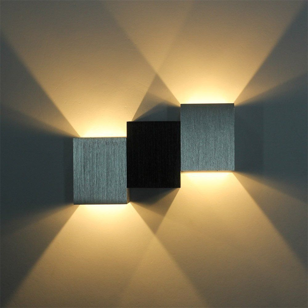 agptek applique murale 3w led lampe carr e murale pour chambre escalier sallon bureau porche. Black Bedroom Furniture Sets. Home Design Ideas