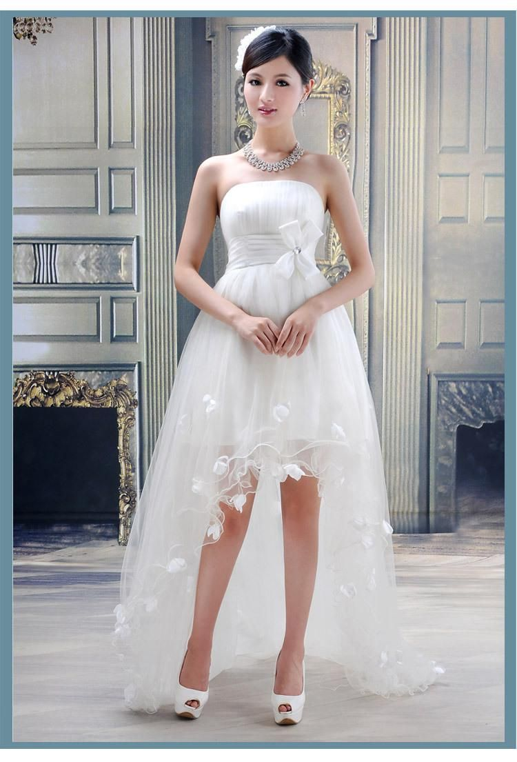 Wholesale Hi Low Beach Bridal Gowns Buy Hi Low Strapless Beach Wedding Dresses With F Wedding Dresses High Low Long Wedding Dresses Short Wedding Dress Beach