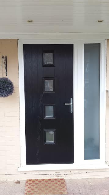 4 Square Glazed Composite Front Door Black With A Side