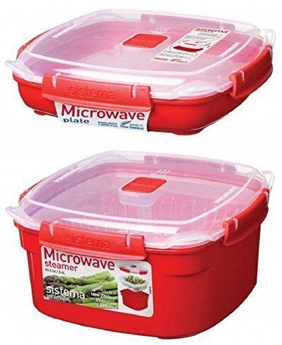 2 red sistema klip it microwave steamer