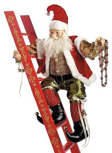 animated climbing elf with ladder christmas decorations traditional holiday outdoor decorations - Animated Christmas Elves Decorations