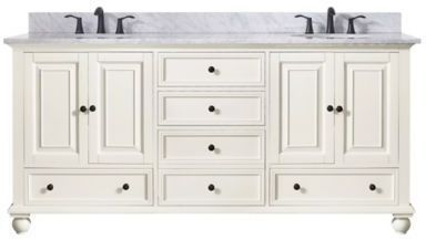 Avanity Thompson 73 Inch Dual Vanity With Carrera Marble Top In