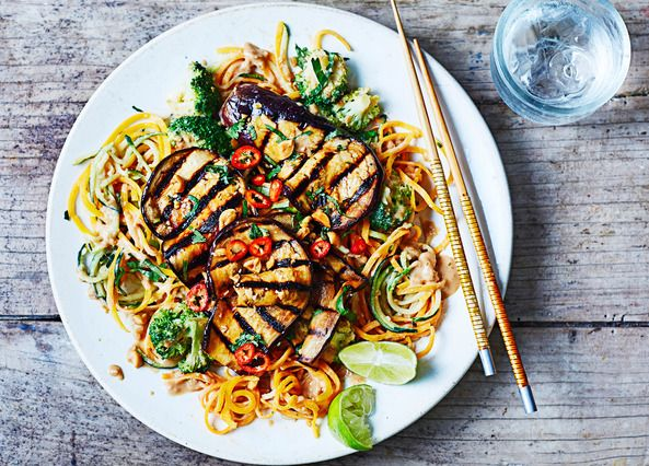peanut satay vegetable noodles with broccoli and grilled aubergine