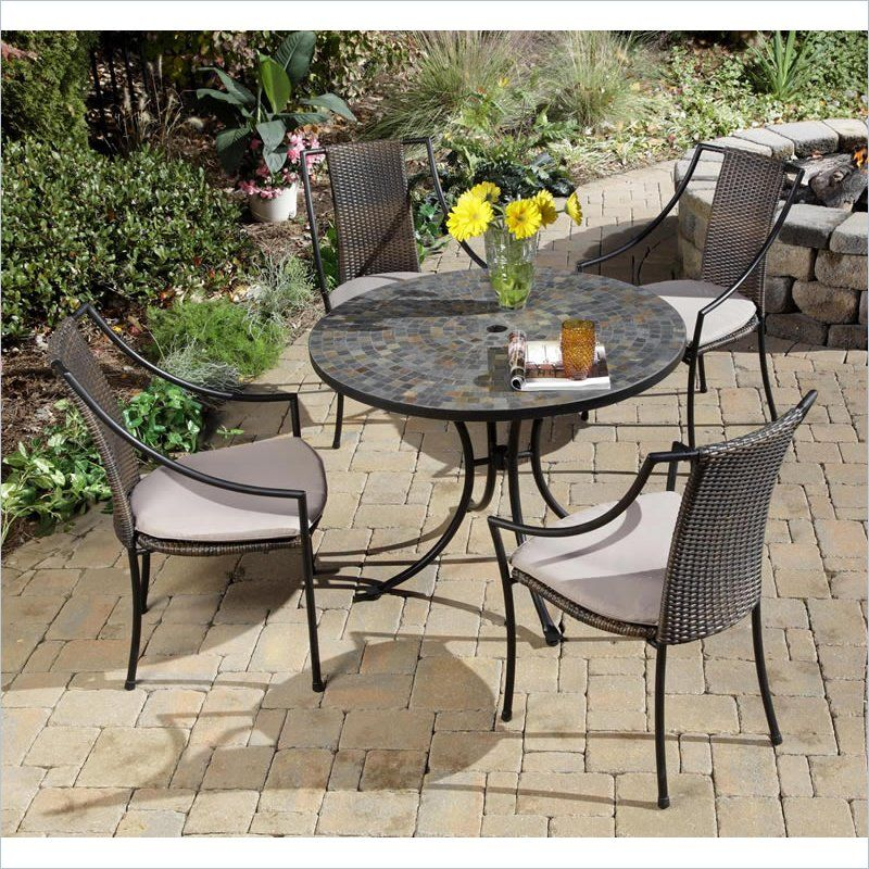 5 Piece Metal Patio Dining Set In Black Patio Ideas Patio