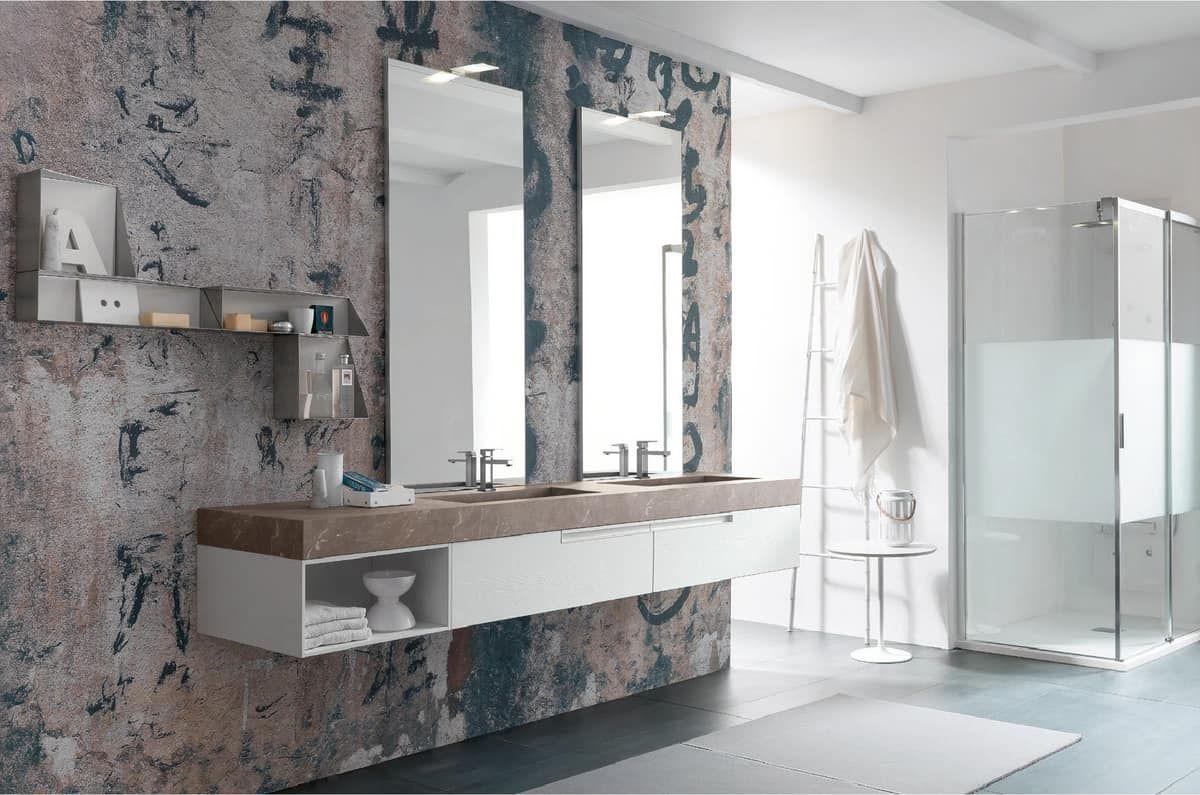 Lime 1.0 comp.14, Arredo bagno con due lavabi e specchiere ...
