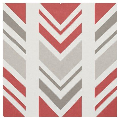 Trendy Red and Grey Chevron Pattern Fabric - craft supplies diy ...