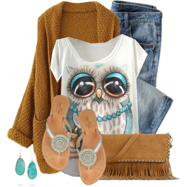 Owl Tee and Sandals by colierollers on Polyvore featuring ASPIGA, Steve Madden and Melissa Joy Manning