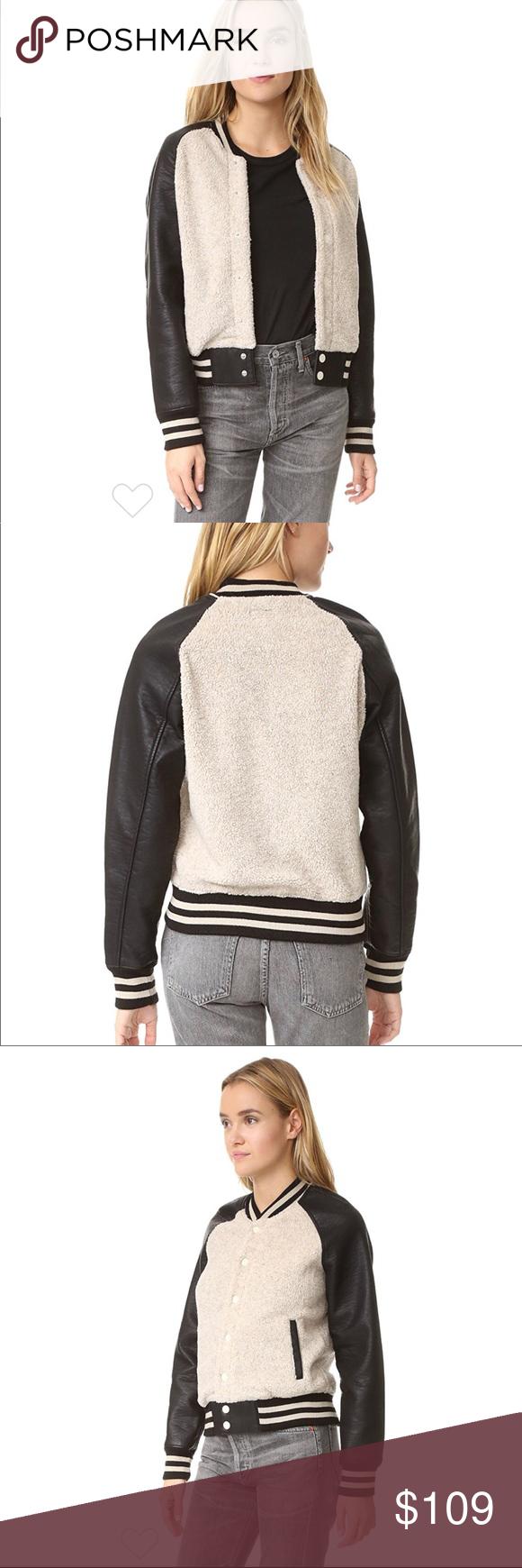 MOTHER Letterman Snap Jacket Sherpa jacket, Jackets