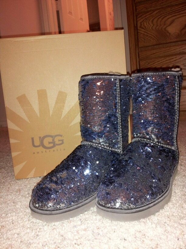 Blue sequin uggs. Sparkly blue and silver boots with warm sheepskin lining. Cute and comfy.