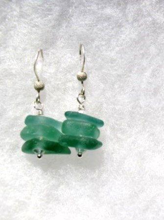 Genuine Sea Glass Earrings- Teal- Rare Sea Glass-