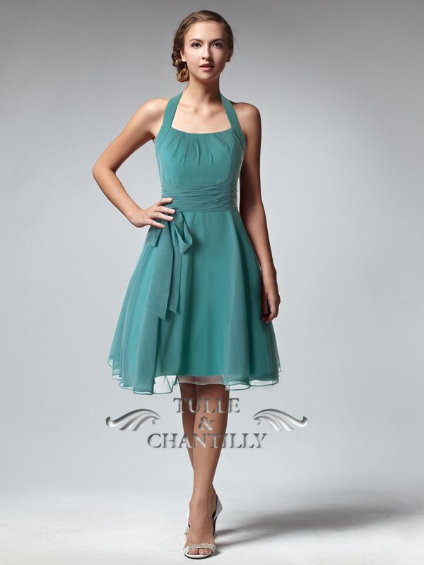 Pale Green Halter Chiffon Bridesmaid Dress With Bow Accent