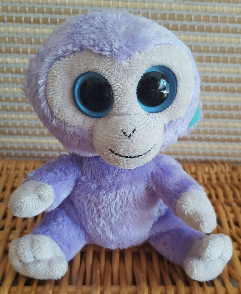 Rare Ty Beanie Boos Boo Soft Plush Toy Blueberry the Purple Monkey Approx  6