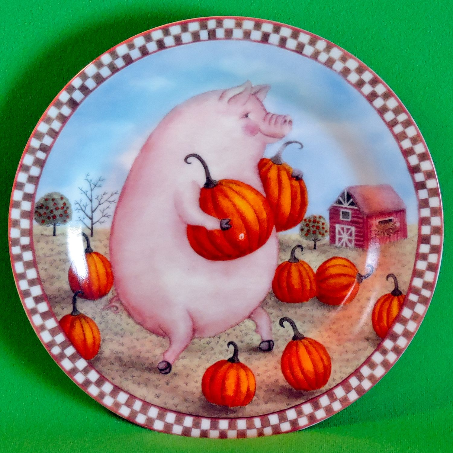 Vintage \ Pig In The Pumpkin Patch\  8-Inch Decorated Plate Berkeley Designs. Decorative ... & Vintage \