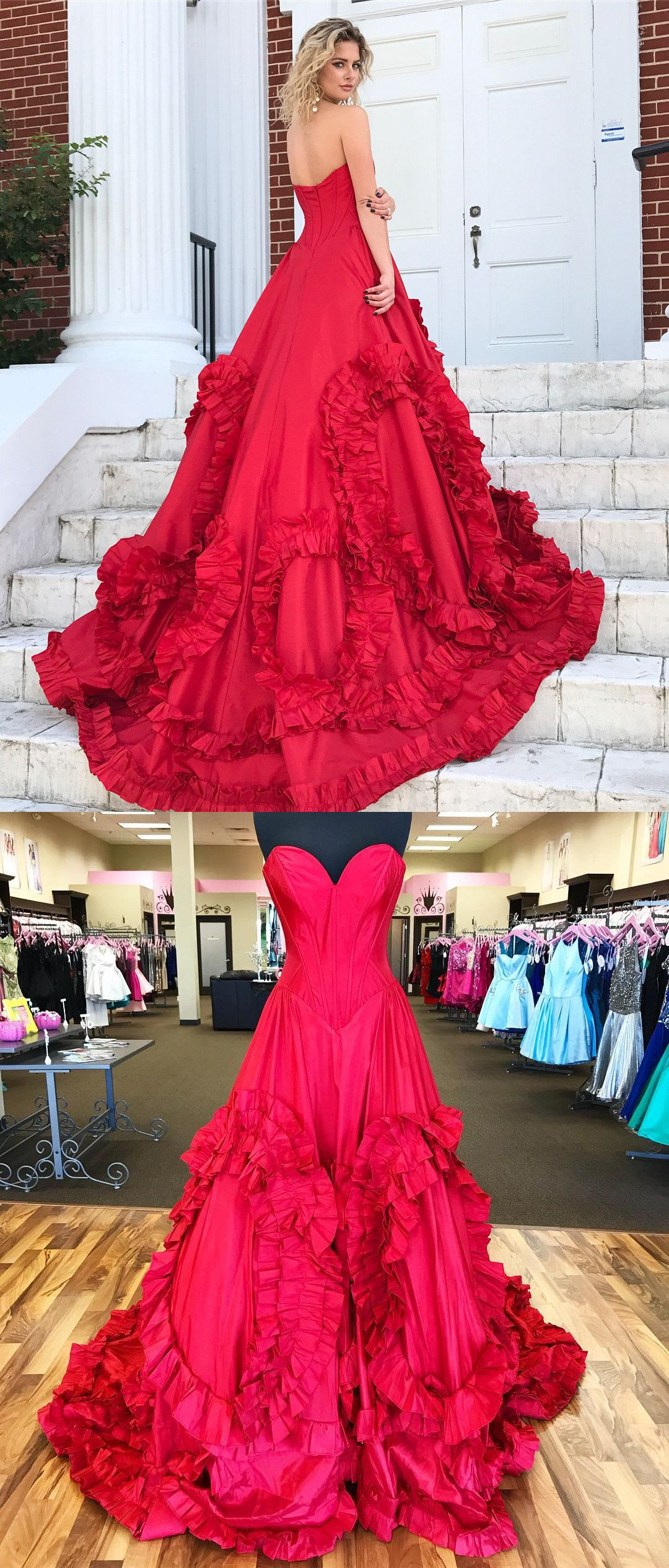 Strapless red long prom dress gown red long sweet dress