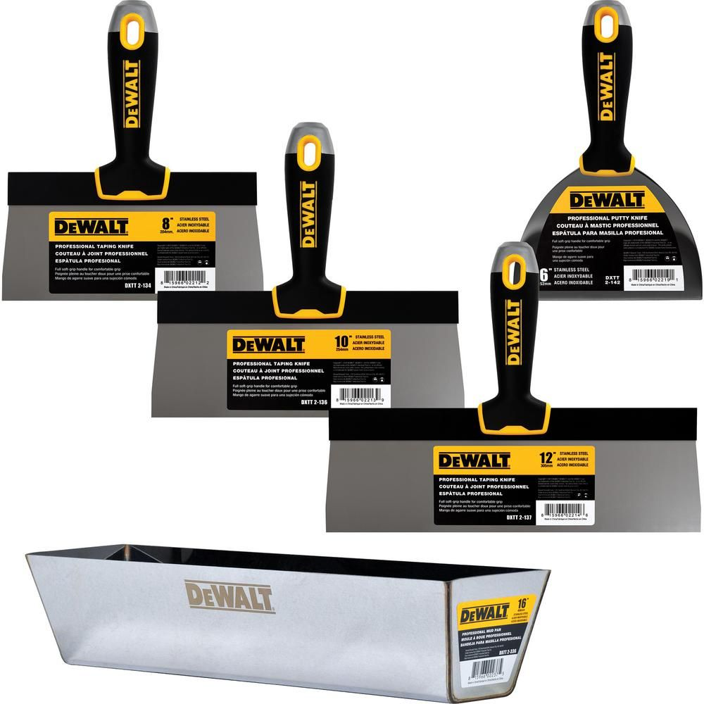 Dewalt Stainless Steel Taping Knife And Pan Set With Soft Grip Handles Dxtt 3 173 Pan Set Power Hand Tools Work Tools