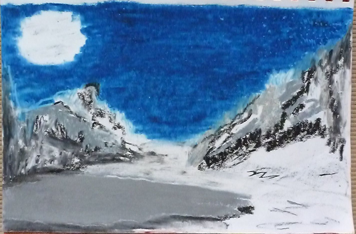 Frozen By Darla Vaughan Original Oil Pastel Fine Art Painting Mountain Drawing Landscape Inspirations Winter Icy Fine Art Painting Mountain Drawing Oil Pastel