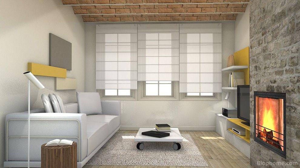 Vista general de un proyecto de rehabilitación de salón con muebles y lámparas de Smartmobel.