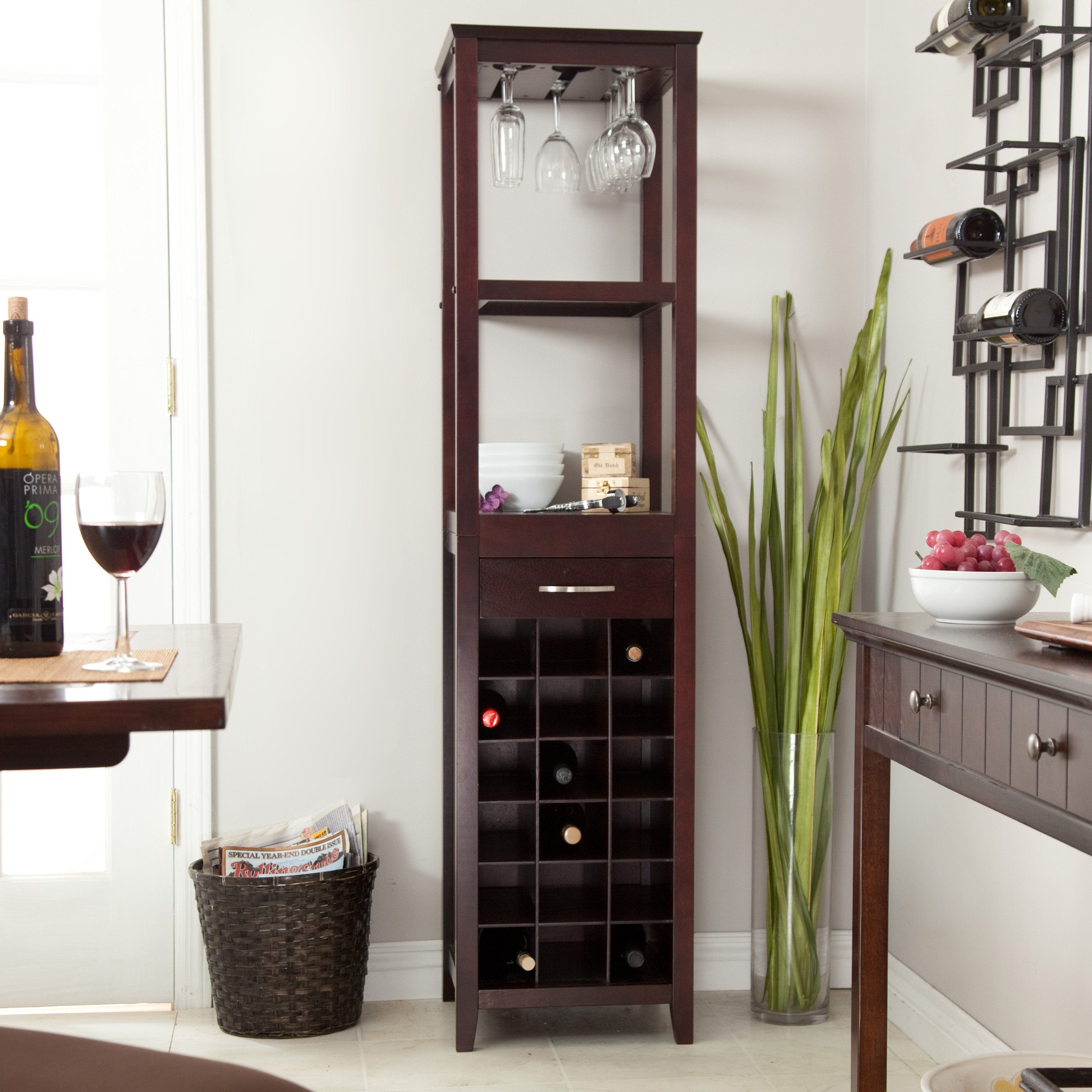 18 Bottle Espresso Wine Tower And Glass Holder
