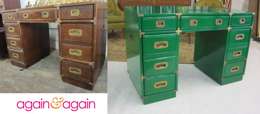 Vintage Campaign Desk Gets Glam Kelly Green Lacquer Makeover The Sky Is The Limit When It