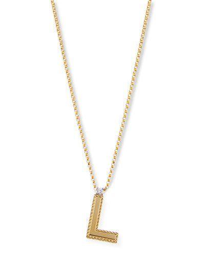 Roberto Coin Princess 18K Yellow Gold Diamond Initial Necklace, V