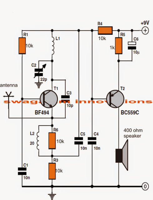 Simple Fm Radio Circuit Using A Single Transistor And Amplifier With