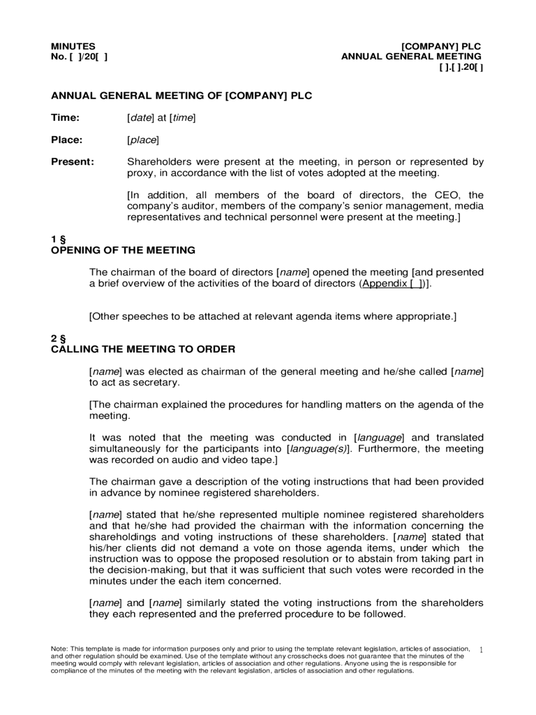 Annual General Meeting Agenda Template  Free Templates In Pdf
