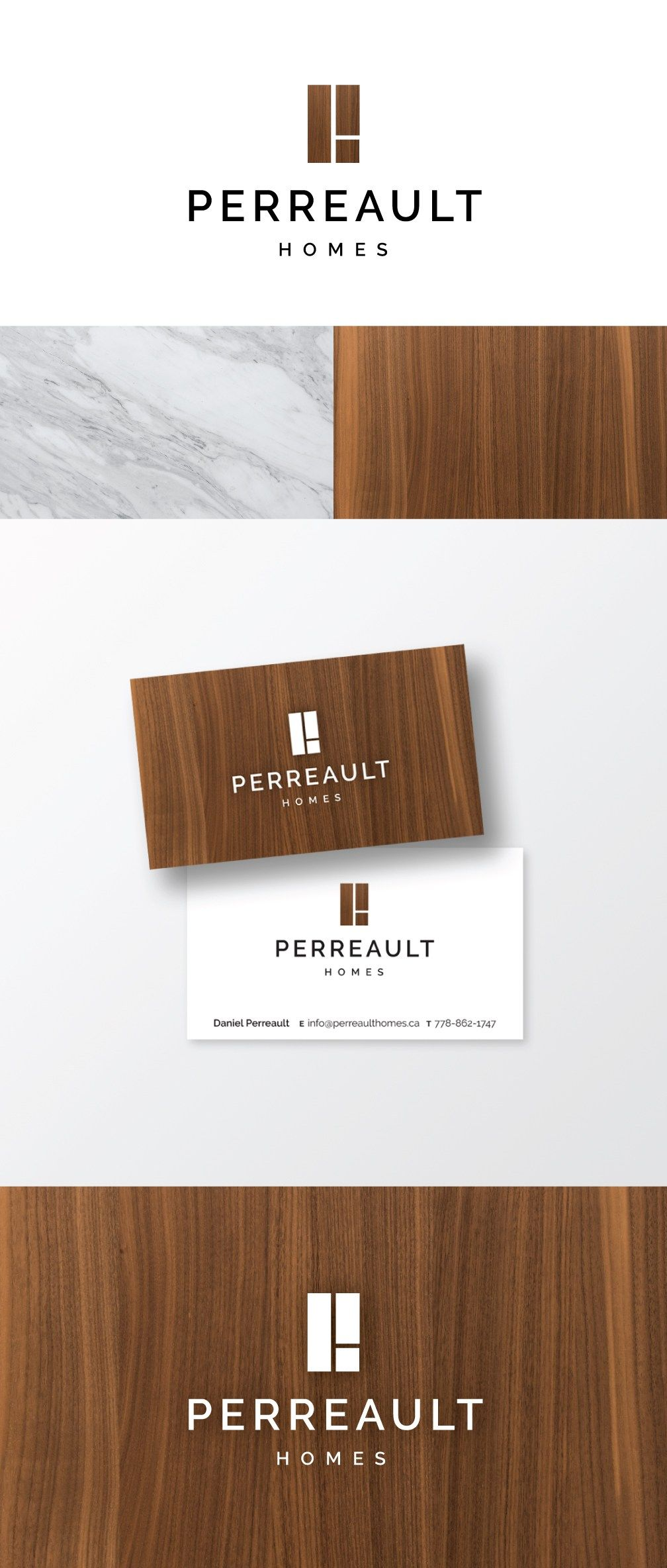 Logo design for Perreault Homes new brand, using a walnut veneer and ...