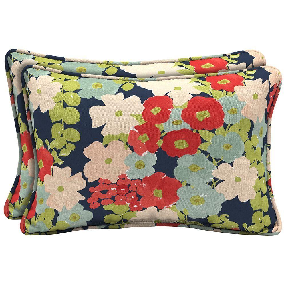 Hampton Bay Francesca Floral Lumbar Outdoor Pillow   The Home Depot