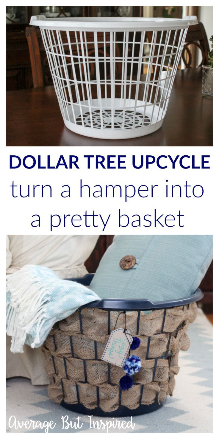 Laundry Hamper To Burlap Basket Upcycle Monthly Diy Challenge Dollar Tree Crafts Diy Basket Dollar Store Diy