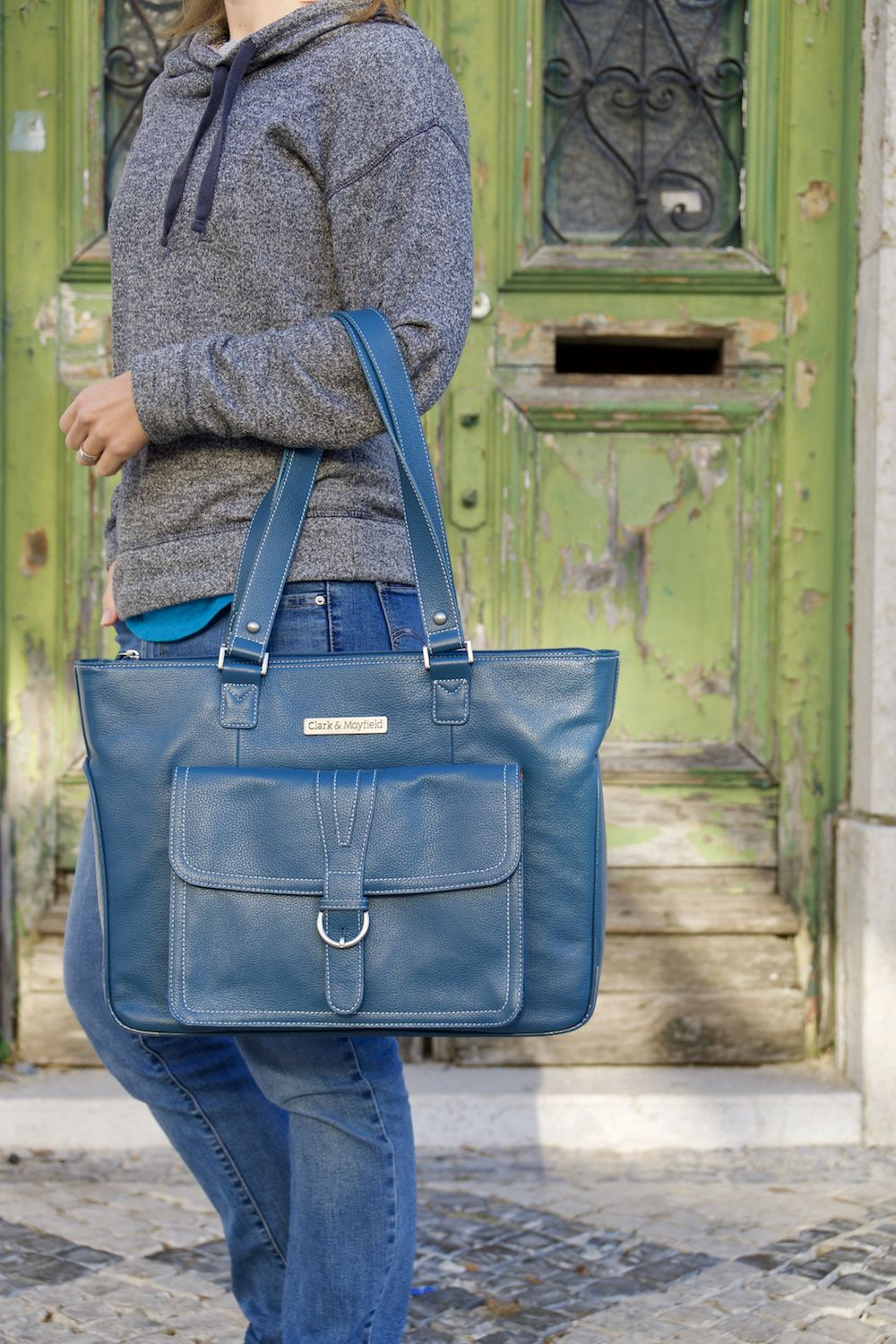 The professional Stafford Leather laptop handbag for work and travel. Top  grain leather laptop tote