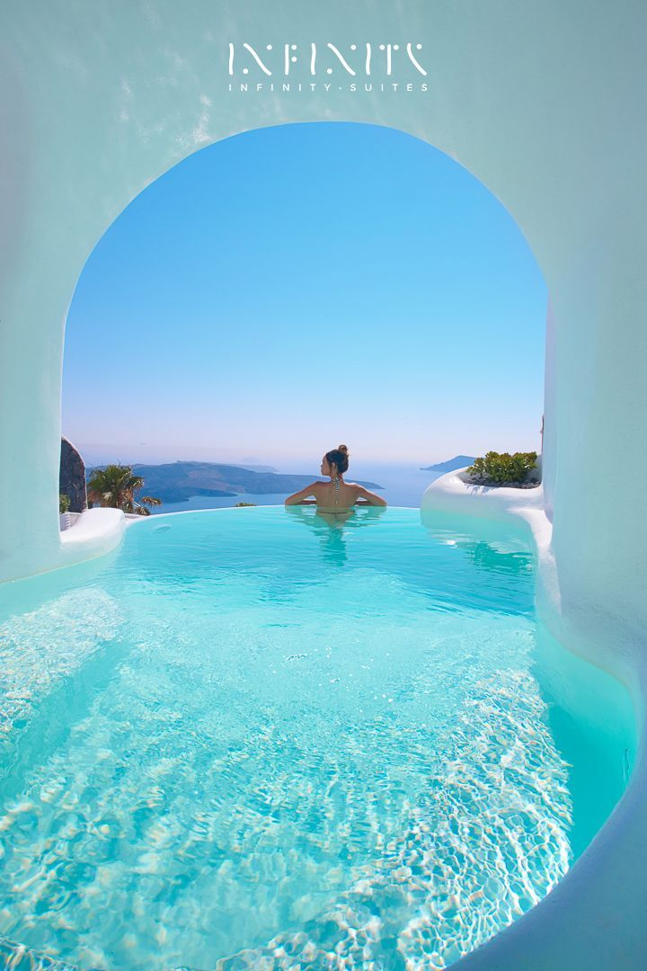 The infinity suite indoor and outdoor heated plunge pools with jacuzzi dana villas santorini - Santorini infinity pool ...