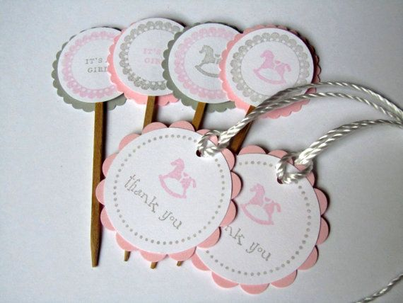 Rocking Horse  Baby Shower Cupcake Toppers and by WildBeanlore, $12.00