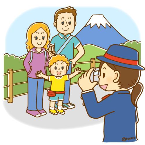 観光名所で記念写真を撮る外国人家族のイラスト ソフト 子供と