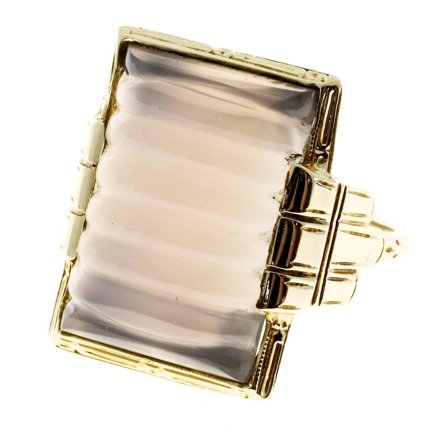 1930s Natural Chalcedony Gold Ring 6
