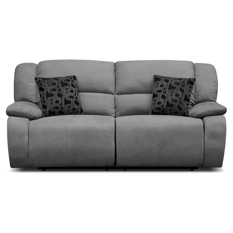 Fortuna Gray Power Reclining Sofa Grey Reclining Sofa Reclining Sofa Sofa