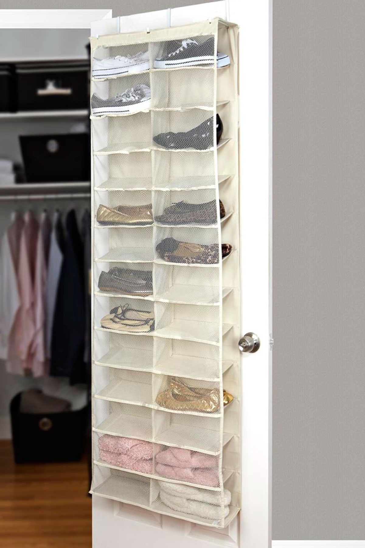 Kennedy Intl 26 Pocket Over The Door Shoe Organizer Ivory On