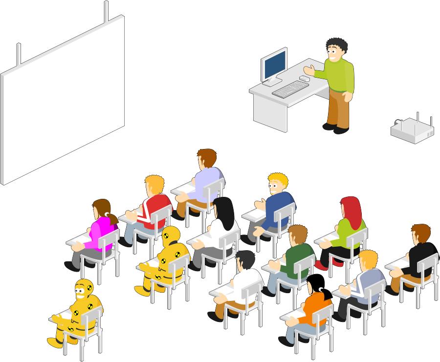 ilustración, dibujo, aula, enseñanza