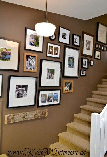 Attrayant Benjamin Moore Chocolate Fondue Brown Paint Colour With Art Gallery Or  Display Up Stairwell Wall