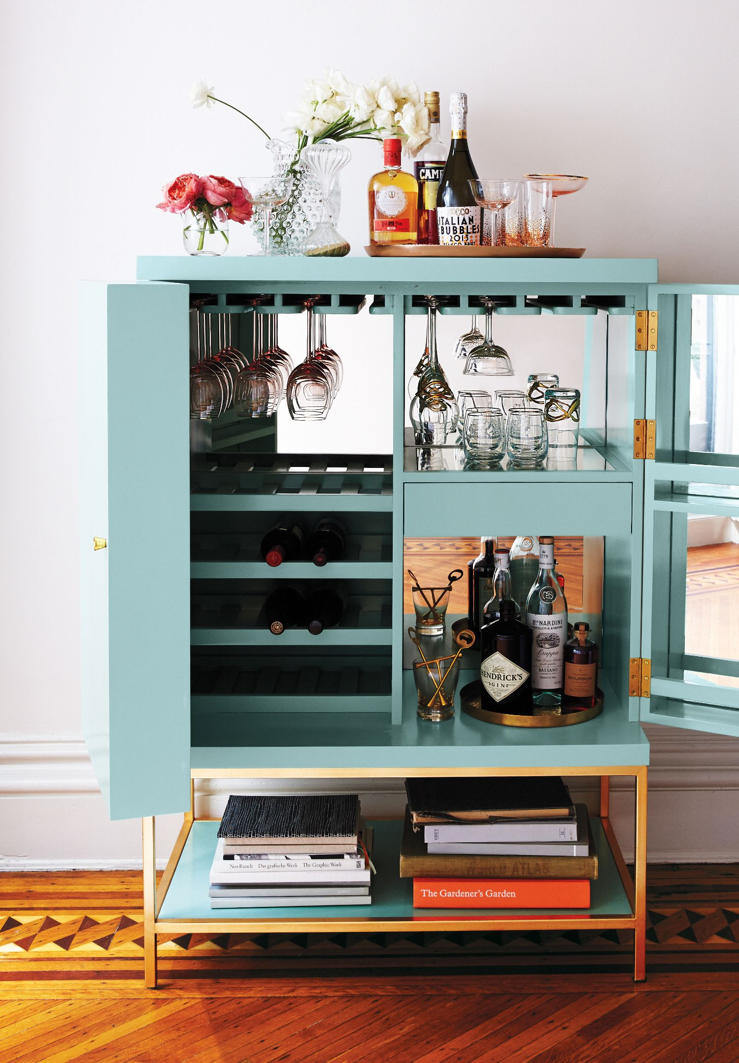 The Lacquered Bar Cabinet by Tracey Boyd is a home bar essential