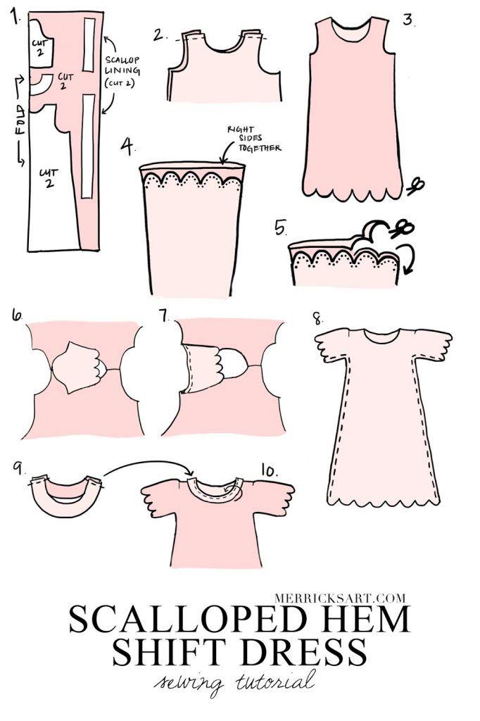 DIY FRIDAY: PINK SCALLOPED HEM DRESS SEWING TUTORIAL   Vestidos ...
