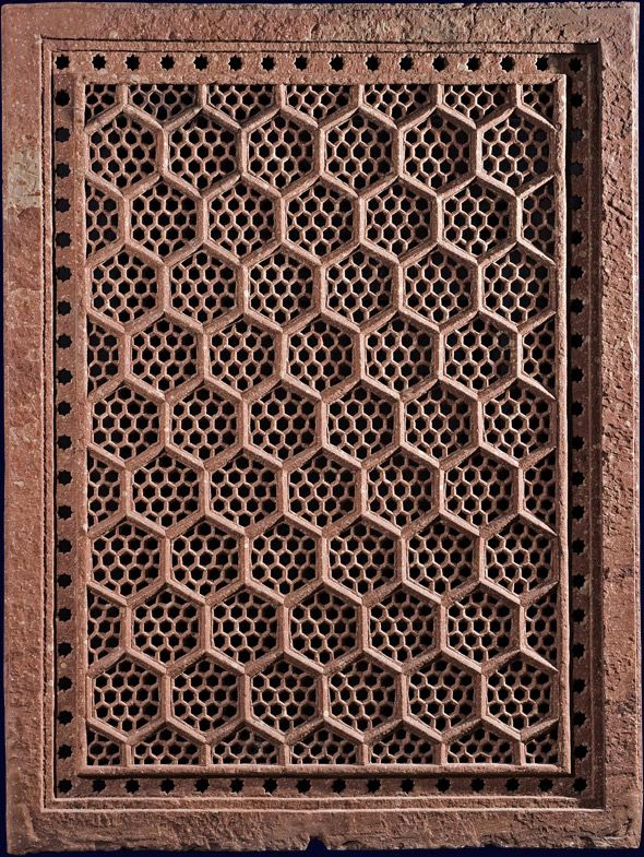 Red Sandstone Jali India Mughal 17th Century A