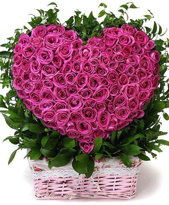 Pink heart roses in a basket | Aseret Plants Galore....Floral ...