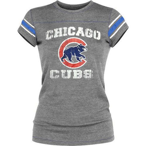 Chicago Cubs Tri-Blend Crew Sleeve Stripe T-Shirt $34.95  @Chicago Cubs