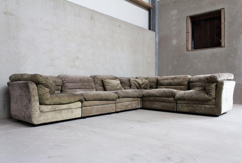For Sale Modular Sofa In Green Velvet Cord By Rolf Benz Modular