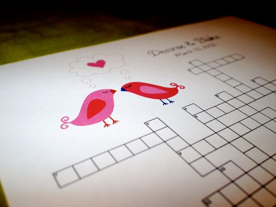 Neue Hochzeit Kreuzworträtsel Love Birds Von Kreativecupcake