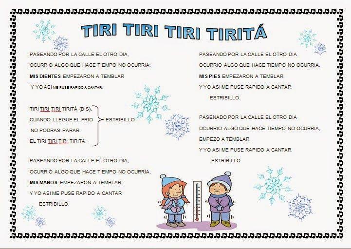 Cantores Infantiles Invierno Tiri Tiri Tiri Tiritá Poesía Para Niños Canciones Infantiles Educacion Infantil