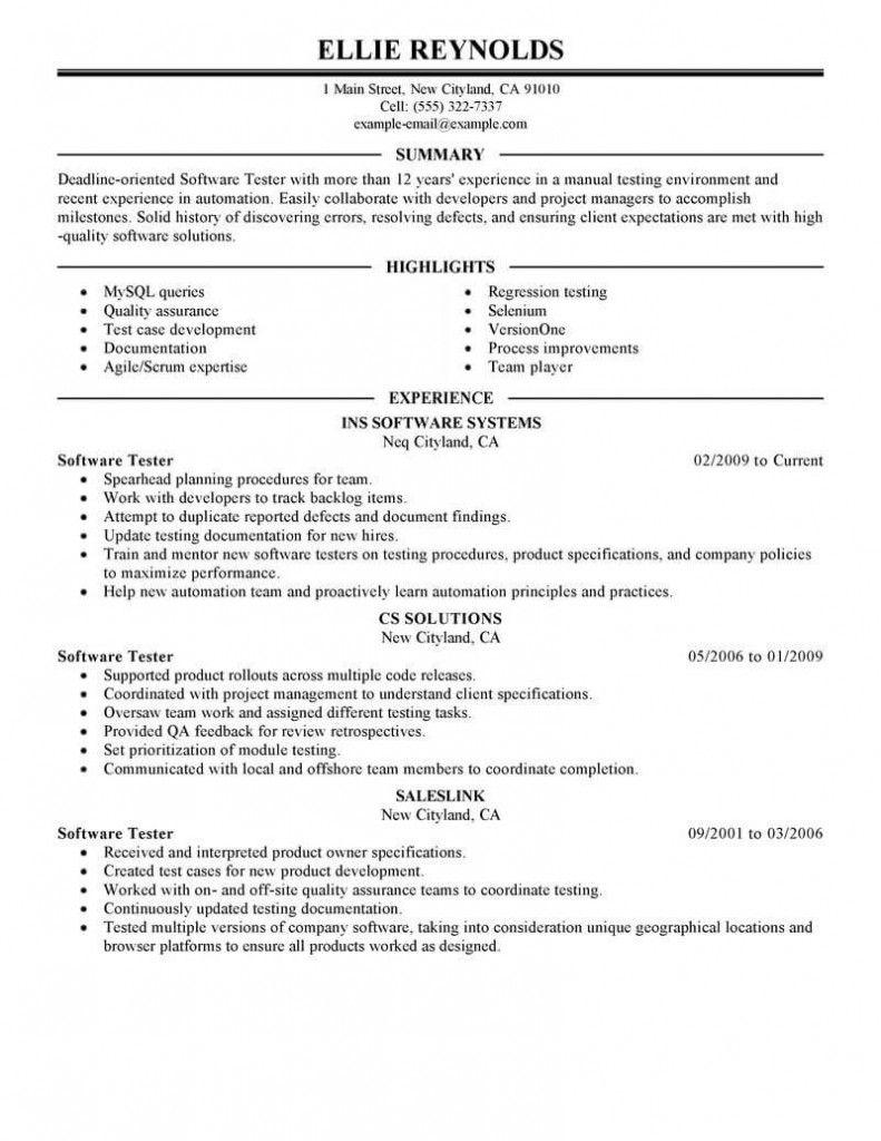 Qa Testing Resume 2021 In 2020 Manual Testing Resume Software Resume Examples