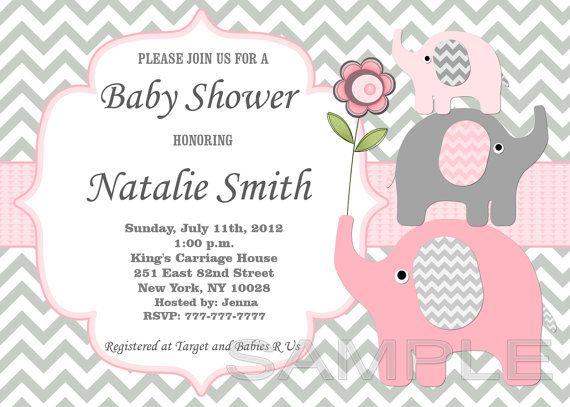 Niña Bebé Ducha Invitación Elefante Bebé Ducha Por
