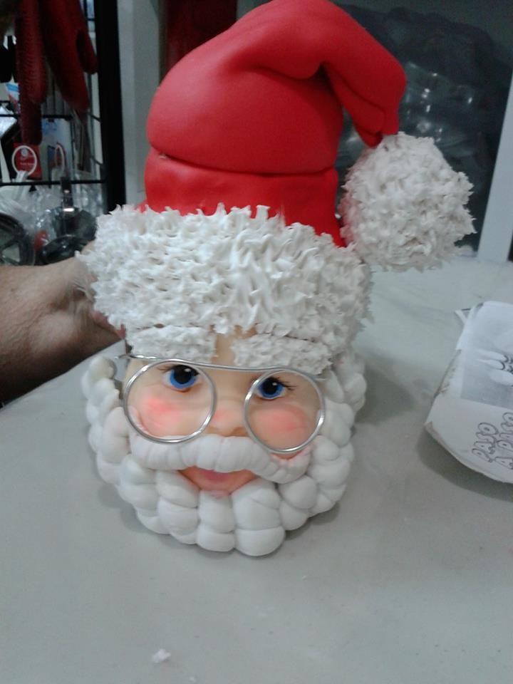 Frasco navide o pap noel cubierto en su totalidad con for Adornos navidenos en porcelana fria utilisima
