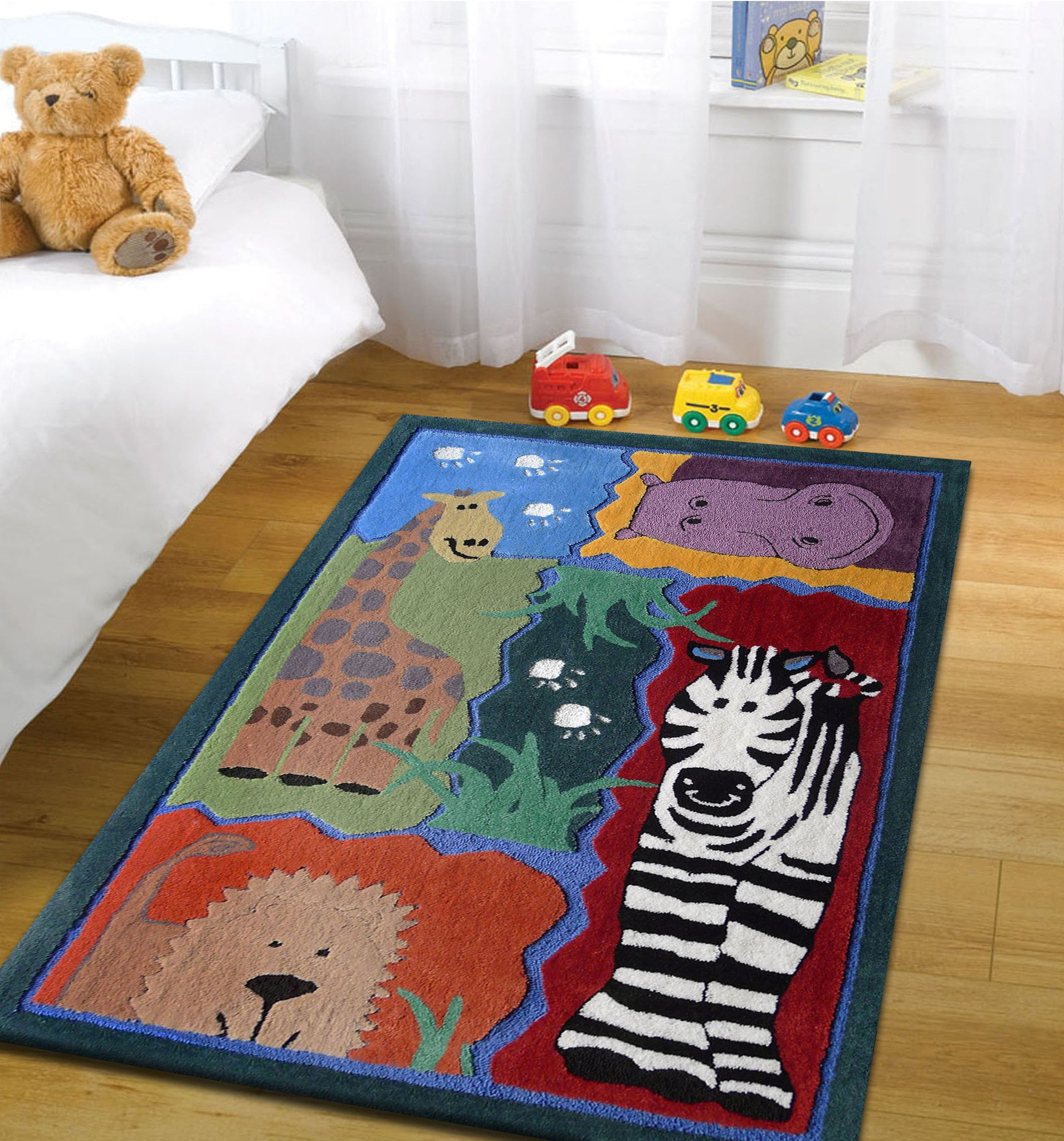 Kids 4x6 area rug with animals